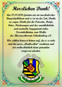 Herzlichen Dank 2016 - Blasmusikverein Schenkenberg e.V.